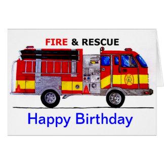 Tarjeta del coche de bomberos del feliz cumpleaños
