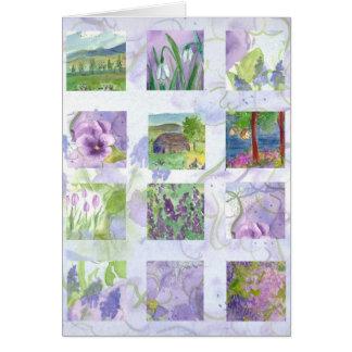 Tarjeta del collage de la pintura de la flor de la