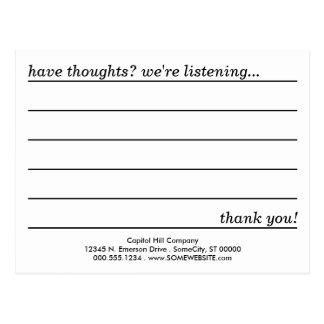 tarjeta del comentario postales