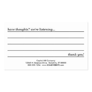 tarjeta del comentario tarjetas de visita