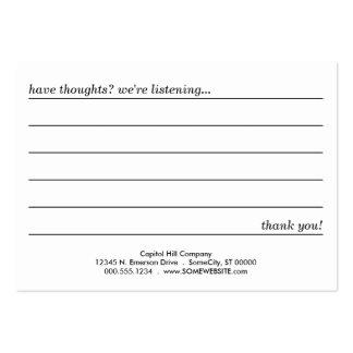 tarjeta del comentario tarjetas de visita grandes