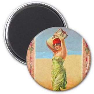 Tarjeta del comercio del chica del tabaco de imán redondo 5 cm