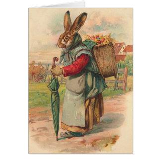 Tarjeta del conejito de pascua del vintage