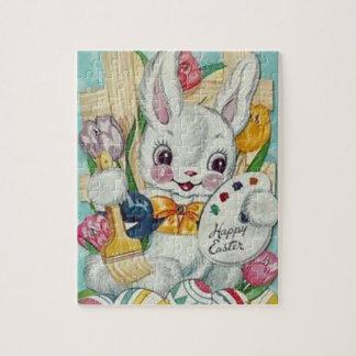 Tarjeta del conejito de pascua del vintage puzzle con fotos