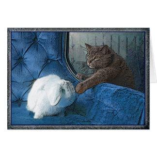 Tarjeta del conejito y del gatito