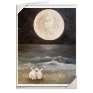Tarjeta del conejo de conejito - te amo a la luna…