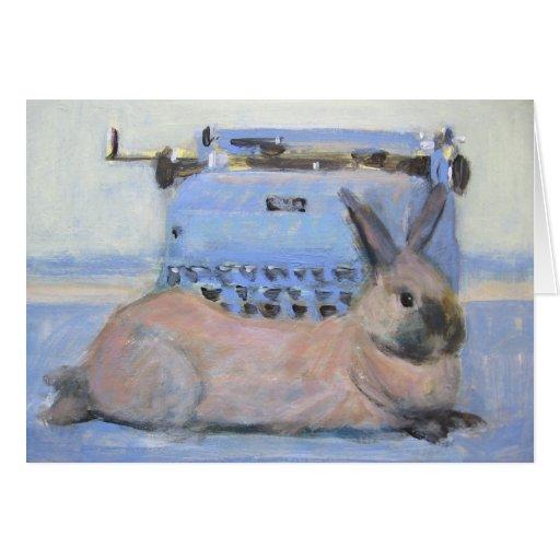Tarjeta del conejo y de la máquina de escribir