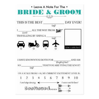 Tarjeta del consejo de la huésped del boda tarjetas postales