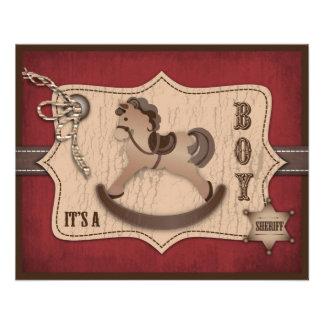 Tarjeta del consejo del bebé del vaquero tarjetón