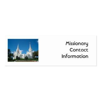 Tarjeta del contacto del misionario tarjetas de visita mini