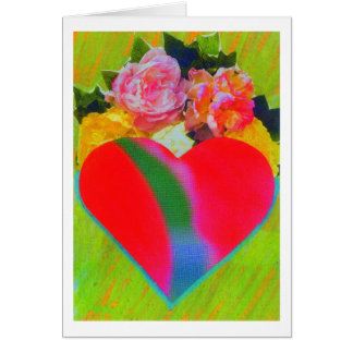 Tarjeta del corazón de la flor
