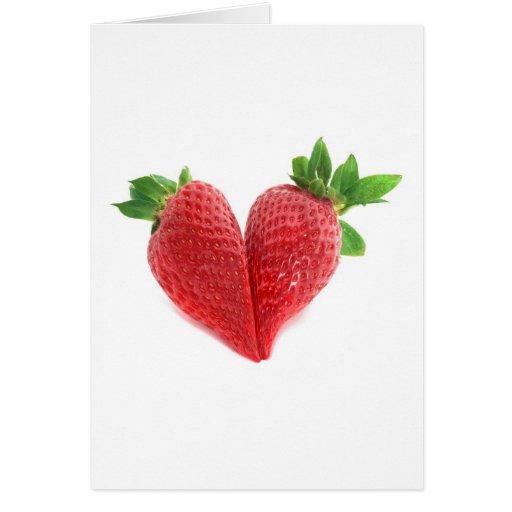 Tarjeta del corazón de la fresa