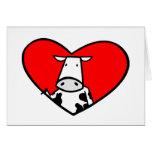 Tarjeta del corazón de la vaca