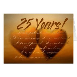 Tarjeta del corazón del aniversario de 25 años