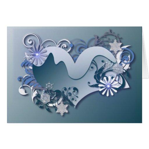 tarjeta del corazón del invierno