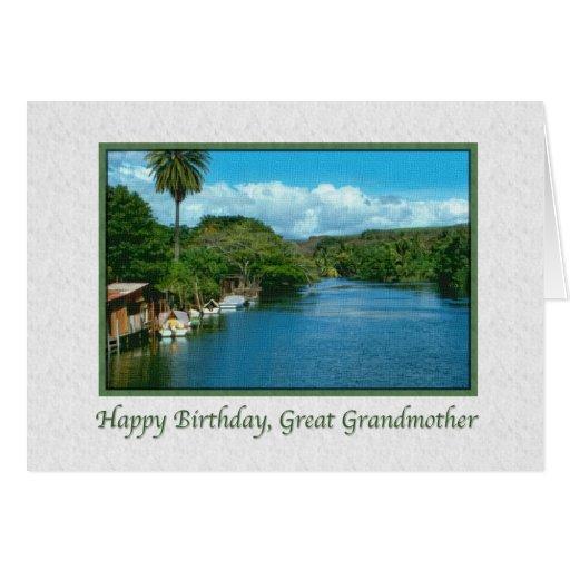 Tarjeta del cumpleaños de la bisabuela con el río