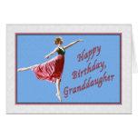 Tarjeta del cumpleaños de la nieta con la bailarin