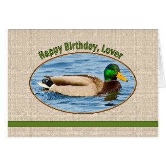 Tarjeta del cumpleaños del amante con el pato del