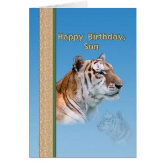 Tarjeta del cumpleaños del hijo con el tigre