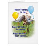 Tarjeta del cumpleaños del sobrino con el pájaro d
