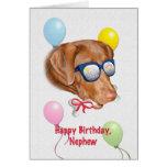 Tarjeta del cumpleaños del sobrino con el perro de