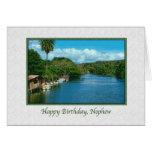 Tarjeta del cumpleaños del sobrino con el río hawa