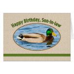 Tarjeta del cumpleaños del yerno con el pato del p