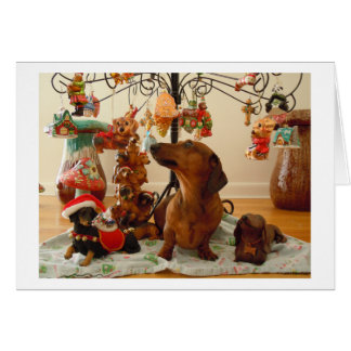 Tarjeta del Dachshund del navidad (Ver.2)