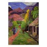 """Tarjeta del de Tahití"" - Paul Gauguin de la ruda Tarjeta Pequeña"