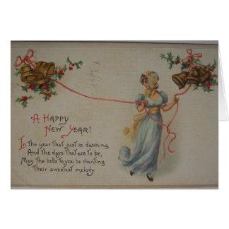 Tarjeta del día de Año Nuevo del Victorian del vin