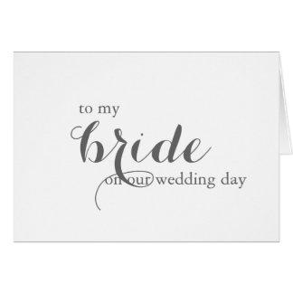 Tarjeta del día de boda para la novia
