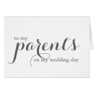 Tarjeta del día de boda para los padres