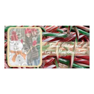 Tarjeta del día de fiesta de la foto de los baston tarjetas personales