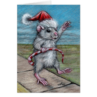 Tarjeta del día de fiesta de la rata del navidad