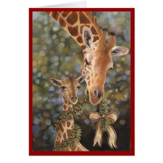 Tarjeta del día de fiesta de las jirafas