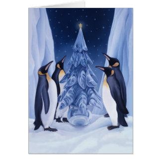 Tarjeta del día de fiesta de los pingüinos