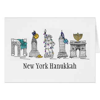 Tarjeta del día de fiesta de New York City Jánuca