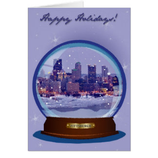 Tarjeta del día de fiesta de Pittsburgh Snowglobe