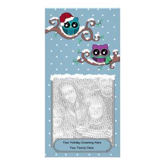 Tarjeta del día de fiesta del búho del invierno tarjetas fotográficas personalizadas