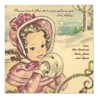 Tarjeta del día de fiesta del chica del Viejo Invitación 13,3 Cm X 13,3cm