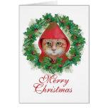 Tarjeta del día de fiesta del gato del navidad