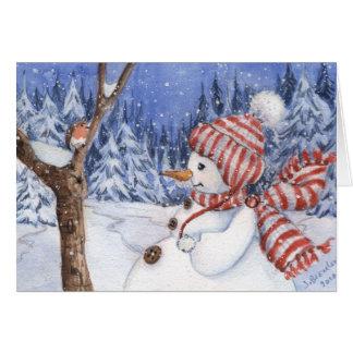 Tarjeta del día de fiesta del muñeco de nieve y de