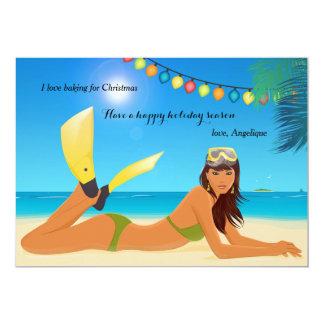 """Tarjeta del día de fiesta del navidad de la playa invitación 5"""" x 7"""""""