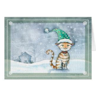Tarjeta del día de fiesta del navidad del gato de