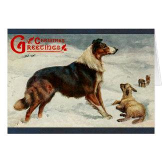 Tarjeta del día de fiesta del navidad del perro y