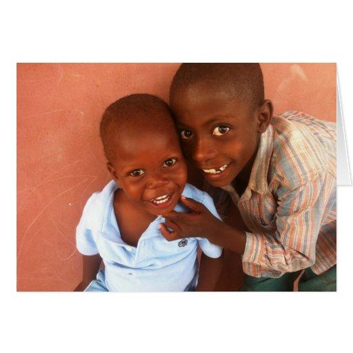 Tarjeta del día de fiesta del orfelinato de Haití