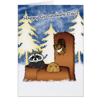 Tarjeta del día de la marmota - Groundog, Racoon,