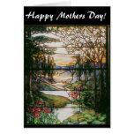 Tarjeta del día de las mamáes del vitral del jardí