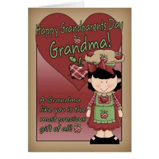 Tarjeta del día de los abuelos de la abuela - pequ
