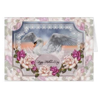 Tarjeta del día de madre con el cisne y los rosas